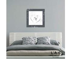 L:A:S Laser Art Style - Cuadro Moderno con Marco Sagrada Familia para Dormitorio, Madera, Antracita y Blanco, 63 x 63 cm