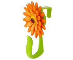 VIGAR Flower Power Gancho para Puerta, Material: Polipropileno, Goma, TPR, Naranja y Verde, Dimensiones: 8 x 5 x 12,5 cm, 2 Unidades