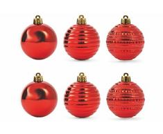 Galileo Casa Navidad Juego Bolas, Rojo, 6Â x 6Â x 6Â cm, 6Â Unidad