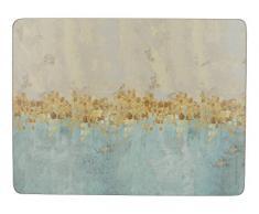 Creative Tops Golden Reflections Impreso Rectangular manteles Individuales de Respaldo, 30Â x 22,75Â cm (Juego de 6), Corcho, Oro, 1Â x 1Â x 0,5Â cm