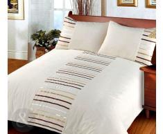 Just Contempo - Juego de funda nórdica y funda de almohada (poliéster), diseño a rayas, poliéster, crema, funda de edredón cama individual (infantil)