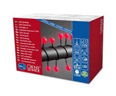 Konstsmide 3696-557 - Guirnalda de luces led esféricas en cordón (80 diodos redondos grandes rojos, transformador exterior de 24 V, cable negro)