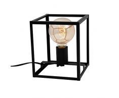 Briloner Leuchten mesa, con 1 luz, lámpara de mesilla retro, vintage, acero negro, 1x E27, máx. 40 vatios, incluido interruptor de cable, 170x170x200 mm (Largo x ancho x alto), W, Tischleuchte