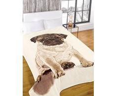 Dreamscene – lujo caliente suave visón piel sintética perro carlino sofá cama manta, Natural, 150 x 200 cm