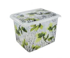 Keeeper Caja de Almacenaje con Tapa, Decoración floral, 20,5 l, Agneta Spring Leaves, Transparente