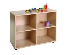Mobeduc 600203HP18 - Mueble infantil bajo con 4 casillas, madera, color haya, 90 x 40 x 76.5 cm