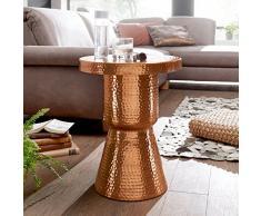 Wohnling Diseño Mesa Auxiliar delyla 43x 59x 43cm Aluminio Cobre, mesa decorativa Cojín redondo, Diseñador estante mesa metal Modern, anstell mesa estrecho, mesa martillado Almacén pequeña, 48x 48x 65cm