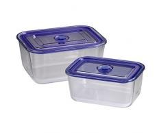 Xavax 00111531 Rectangular Caja 3.05L Azul, Transparente 2pieza(s) recipiente de almacenar comida - Recipiente para alimentos (240 mm, 180 mm, 110 mm, 2 pieza(s))