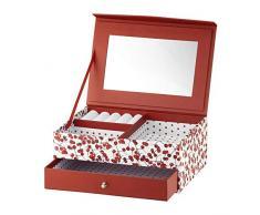 AMBITION - Joyero para Mujer, diseño de arándanos, 20 x 14 x 8 cm, con Compartimentos y Espejo, Color Blanco y Rojo
