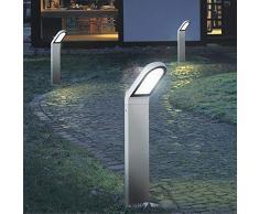 WOFI lámpara de pie al aire libre line, 1-lámpara de techo, Serie Newark, 1 x 9,5 W 230 V LED, 90 x 10,4 cm, diámetro de 15,5 cm, 3000 K, 660 lm, gris 3819,01,50,0900