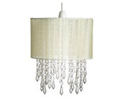 Loxton Lighting – Lámpara de techo con pantalla para lámpara con efecto de cristal con perlas, acrílico, color crema