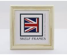 Skelf Frames Marco de Fotos Cuadrado con Cristal de Shabby de Color Blanco y Negro con Diseño de Cuadros DE 33 x 33 cm