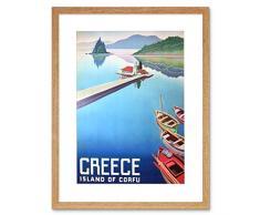 Wee Blue Coo Travel Island Corfu - Cuadro de Pared con Marco de Barcos de Grecia