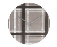 Present Time Karlsson - Reloj de pared (tablero DM y PVC), diseño de cuadros escoceses, color negro