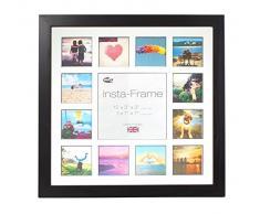 Inov8 16 x 40,64 cm Insta-Frame Kayla marco para Instagram 13/de estampado a cuadros de fotos con paspartú blanco y negro con borde, 2 unidades, negro