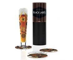 Vaso de cerveza Black Label de Debora Jedwab, de cristal, 300 ml, con cinco tapas de cerveza