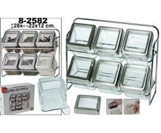 DRW - Set de 6 especieros de Cristal Transparente con Soporte de Metal Cromado 28x22x12cm