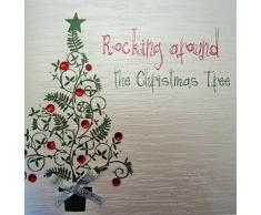 White Cotton Cards girar alrededor de la tarjeta de Navidad hecha a mano en forma de árbol