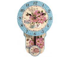 H&H Fiori Reloj con Péndulo, madera, Azul Claro