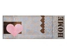 Alfombrilla LifeStyle 100499 Corazón de amor, felpudo antideslizante y lavable, ideal para la entrada, el armario o la cocina, 67 x 170 cm, marrón / rosa