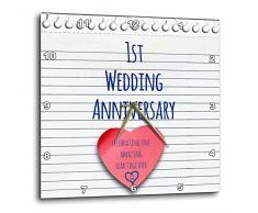 3dRose 1er Aniversario de Boda Papel de Regalo celebración 1 año Juntos Reloj de Pared, Aluminio, Multicolor, 15 x 15 Pulgadas