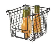 iDesign Caja, pequeña Cesta de Metal apilable y con Asas para Guardar cosméticos o artículos de papelería, Organizador para baño, Cocina o despacho, Negro