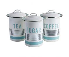 Jamie Oliver jb8911 Vintage de café, té y azúcar de carbón Recipiente, plástico, Blanco, 12 x 12 x 16,5 cm