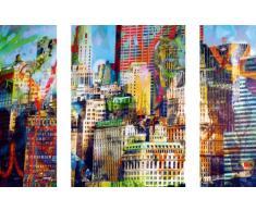 EurographicsDP-DOM1001 New Town - Tríptico Adhesivo de Pared (50 x 70 cm), diseño de Ciudad