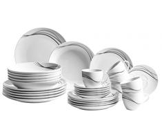 Domestic by Mäser 927314 Serie Tajo, Vajilla para 6 personas, porcelana, color blanco/negro, 40 x 60 x 40 cm, 30 unidades