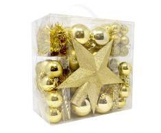 BAKAJI - Adornos para árbol de Navidad, Oro Dorado, Bolas de Estrellas talladas navideñas, 77 Unidades, Multicolor, único