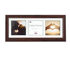 Inov8 21 x 20,32 cm Insta-Frame Marco para Instagram 3/de Estampado a Cuadros de Fotos con paspartú Blanco y Negro con Borde, 2 Unidades, Madera de Nogal
