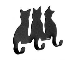 Tiger Gancho Gato para Ropa y Toallas, Fijación Adhesiva, 2.2 x 12.5 x 9 cm, Acero Inoxidable, Negro