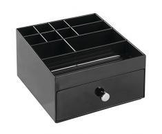 InterDesign Clarity organizador maquillaje | Joyero con 11 compartimentos y cajones | Ideal como organizador de collares, pulseras, anillos, etc. | Plástico negro