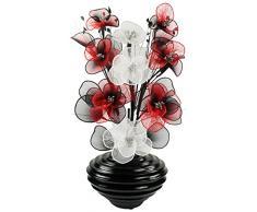 Diseño de flores de forma ovalada 792152 65 cm flores artificiales jarrón, rojo/negro/blanco