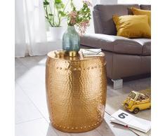 Wohnling–Mesa auxiliar, Pedro 42x 49x 42cm aluminio oro mesa decorativa Cojín redondo, mesa martillado Almacén pequeña, Diseñador estante mesa metal Modern, anstell mesa estrecho, 47x 47x 53cm