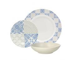 Tognana Goldie - Vajilla de 18 Piezas, Porcelana, Color Azul y Marfil