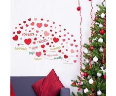 wallflexi Navidad decoraciones murales de pared pegatinas para pared amor de Navidad con francés y italiano citas dodoskinz sala de estar los niños guardería escuela restaurante Cafe Hotel casa oficina decoración, Multicolor