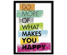 LO+DEMODA HCN2114-87 - Cuadro con marco, diseño Makes you happy, 33 x 43 cm, multicolor