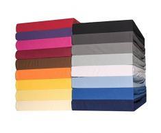 CelinaTex Lucina Sábanas Ajustables Revestimiento para Cama Boxspring algodón 2er-Set 90x200-100x200 cm Azul Real