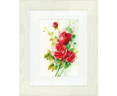 Lanarte de rosas rojas diseño de ramo de lino