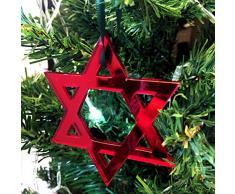Super Cool Creations Star of David - Adornos para árbol de Navidad (10 Unidades), Color Rojo