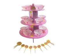 Club verde soporte para tartas Kit para niña, rosa