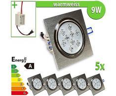 1 x foco de pared bombilla de 9 W escuadra de focos para lámpara de techo empotrable, blanco 9|wattsW