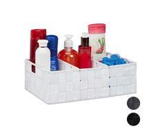 Relaxdays Cesta de almacenaje para baño, Neceser de Maquillaje, con Asas, 10x32x21 cm. 1 Ud, Blanco