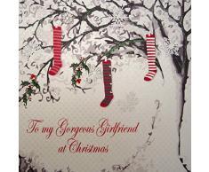 White Cotton Cards To My Gorgeous Girlfriend de calcetines de Navidad, diseño de árbol de Navidad con cartón hecho a mano