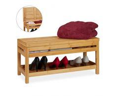 Relaxdays Zapatero con Compartimento, Banco de almacenaje, Bambú, Dos estantes, 38x80x32 cm, Marrón, 38 x 80 x 32 cm