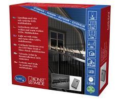 Konstsmide Mini guirnalda de bombillas LED, multifunción, mando y función de memoria, luz blanca cálida 80 y 80 diodos de luz blanca fría, 24 V transformador exterior, cable negro 6420-150