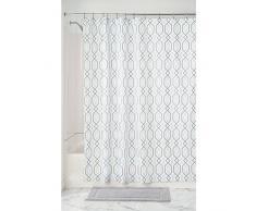 InterDesign Lattice Cortina de baño textil | Cortina para baño de 183 cm x 183 cm para bañera y plato de ducha | Cortina de ducha de diseño discreto | Poliéster menta/gris