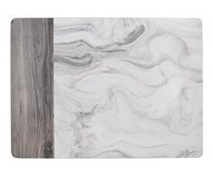Creative Tops Premium Manteles Individuales Estampados con Reverso de Corcho, Blanco y Gris, Medium Placemats, 6