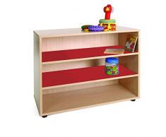 Mobeduc 600201HP10 - Mueble infantil bajo/estantería, madera, color haya y rojo cereza, 90 x 40 x 76.5 cm